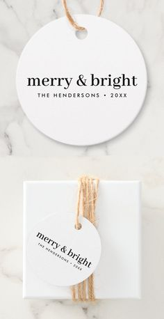"""Simple, stylish, minimalist christmas gift tags with a modern minimalist typographic quote """"merry & bright"""" in black on a clean minimal white background. The name, year and greeting can be easily customized for a personal touch, perfect for the festive season! #christmas #merryandbright #minimal Christmas Gift Tags, Christmas Shopping, Christmas Themes, Holiday Cards, Holiday Gifts, Christmas Holidays, Minimal Christmas, Brown Paper Packages, Favor Bags"""