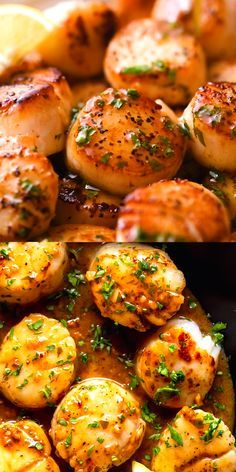 You will never believe how easy and fast it is to make Pan Seared Scallops with a Lemon Butter Sauce. Sweet, buttery and delicate Sea Scallops are quickly seared in a hot pan, then a simple lemon, butter and garlic sauce is made in the same pan. Lemon Butter Scallops Recipe, Lemon Butter Chicken, Lemon Butter Sauce, Lemon Garlic Sauce, Garlic Butter Shrimp, Sauteed Shrimp, Seafood Appetizers, Seafood, Butter