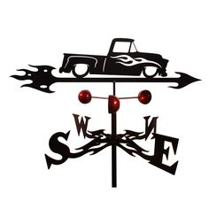 Add this stylish decoration to your home for a personalized touch. The weathervane is constructed from weatherproof steel with a black powder coat finish and features a Chevy Truck Auto Car design. Co
