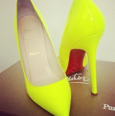 Neon Yellow Chunky Heel GoGo Boots Patent Faux Leather | BOOTS AND ...