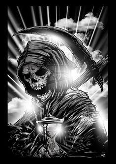 Grim Reaper by on deviantART Biker themed Tattoo Inspiratitions. Old school vintage styled biker tattoos Death Reaper, Grim Reaper Art, Grim Reaper Tattoo, Don't Fear The Reaper, Grim Reaper Drawings, Grim Reaper Images, Theme Tattoo, Tattoo On, Ambigram Tattoo
