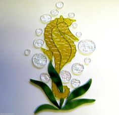 Island Seahorse for Hanging 22K Gold Mixed with Clear Sculpted Glass