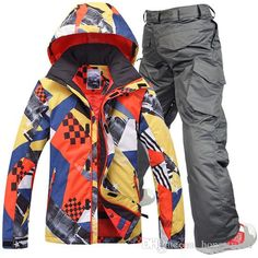 Gsou snow men ski suit male skiing set snowboarding mountain-climbing suit  mens yellow and mixd color ski jacket and pants waterproof 10K 219e2d4f0