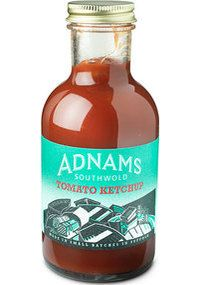 £3.50 Adnams Small Tomato Ketchup Rich and fruity with subtle herbs and spices. The perfect accompaniment to fish and chips. 300 grms Ingredients: Tomato Puree (20%), Water, Sugar, Spirit Vinegar, Modified Maize Starch, Sea Salt, Garlic Powder, Onion Powder, Seasoning (Tomato Powder, Sea Salt, White Wine Powder (White Wine concentrate, Maltodextrin), Sugar, Onion, Cassia, Oregano, Thyme, Clove, Garlic, Spice Extracts, Herb Extracts, Flavourings). Allergy advice: Gluten Free