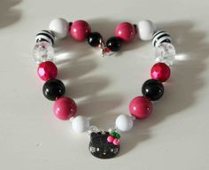 Hello Kitty Chunky Necklace Fuschia and Black Ready to ship- Birthday - Dress Up- Christmas Necklace - Photo prop- children's accessory