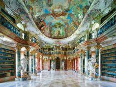Wiblingen Abbey Library. Wurttemberg Province, Germany.