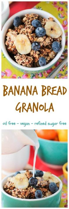 Banana Bread Granola - Easy homemade banana bread granola. Perfect for breakfast, snack or anytime in between. Drizzle in some plant milk or use it top off some dairy free yogurt. Load it up with fresh fruit for a nice contrast of textures. Happy eating!