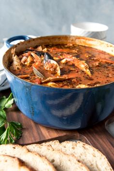 Considered by many to be the signature dish of San Francisco, Cioppino is a wonderful seafood stew that is perfect for entertaining and holidays. Serve this with crusty sourdough bread to sop up all the Seafood Soup Recipes, Seafood Dishes, Fish Recipes, Supper Recipes, Cioppino Recipe Easy, Italian Seafood Stew, Seafood Cioppino, Fish Dishes, Gourmet