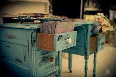 distressed desk...love this color combo