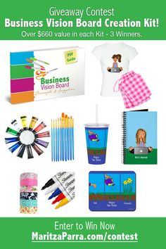 In this Kit (over $660 value) you'll get comfy Personalized Pajamas (for staying comfy in your Home Office) and Journal, mousepad, arts and crafts supplies, stickers, tumbler, mousepad, Business Vision Board Prompts & Supplies Guide and more!
