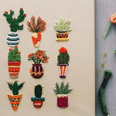Wonderful Ribbon Embroidery Flowers by Hand Ideas. Enchanting Ribbon Embroidery Flowers by Hand Ideas. Cactus Embroidery, Hand Embroidery Stitches, Modern Embroidery, Silk Ribbon Embroidery, Embroidery Kits, Cross Stitch Embroidery, Embroidery Designs, Hand Stitching, Tumblr Embroidery