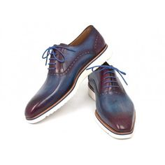 Oxford style smart casual shoes for men Blue & Purple dual tone handpainted upper Cream white rubber sole Perforated medallion toe Leather lining and inner sole Looking for a bigger size ?  Request a custom order for sizes up to EU 50 - US 15