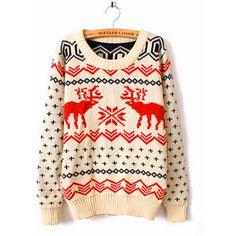 Christmas Deer Beige Round Neck Sweater$44.00 - Polyvore