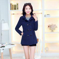 WKOUD Women Woolen Coats Winter Trench Coat Fashion Solid Double Breasted Overcoat Turn-down Collar Slim Outerwear C8103