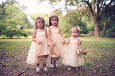 pink and peach flower girls http://www.weddingchicks.com/2013/09/27/pink-and-cream-wedding/