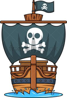 Front View Of A Pirate Ship: Royalty-free stock vector illustration of a wooden pirate ship sailing in the water, with black sails, as seen from the front. Cartoon Pirate Ship, Pirate Ship Drawing, Cartoon Ships, Pirate Birthday, Pirate Theme, Pirate Party, Pirate Images, Doodle Images, Ship Vector