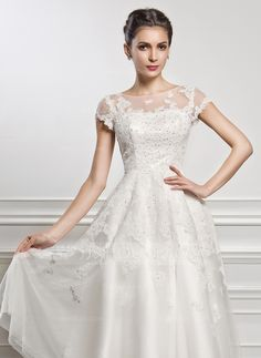 389897dae4106 ... Neck Tea-Length Beading Sequins Zipper Up Sleeves Short Sleeves Beach  Hall Reception General Plus No Spring Summer Fall Ivory Tulle Lace Wedding  Dress