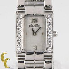 Michel Herbelin Stainless Steel Quartz Watch w/ Diamond Bezel 17047.AB #MichelHerbelin #Casual