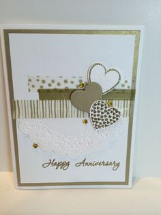 50th Anniversary 50th Anniversary Cards, Anniversary Ideas, Homemade Anniversary Cards, Stamping Up Cards, Valentine Day Cards, Paper Cards, Greeting Cards Handmade, Scrapbook Cards, Homemade Cards