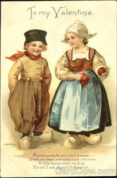 Valentijn-postkaart, met twee kinderen afkomstig van een boerderij,zo lief lb xxx.