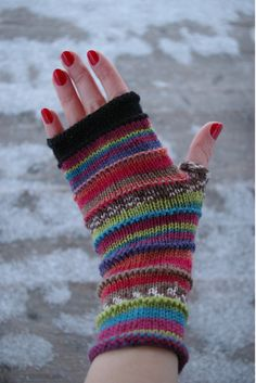 Fingerless gloves rainbow colors