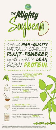 "This Fun Ag Fact infographic on soy protein explains how ""The Mighty Soybean"" contains high-quality, naturally complete, plant-powered, heart-healthy, lean, green protein. This infographic also explores the reasons and research behind the health, nutritional and environmental factors of why soy is so good for you and the planet! Long live the soybean farmer!"
