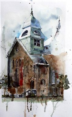 church, no artist or date, watercolour painting. I have chosen this picture because it shows the spiritual force that has influenced the artist to create this fictional church.