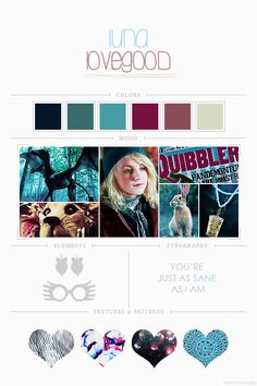 EmptyFantasies' Character Mood Boards - 7/?Luna Lovegood - Harry Potter Series colour palette