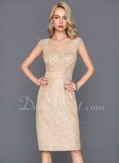 08c71cfc1d Sheath Column V-neck Knee-Length Lace Cocktail Dress With Beading Sequins  (016117265)