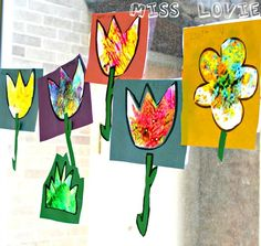 *****  LOVE THIS ******  Stained Glass Flower Craft by Miss Lovie. Perfect spring art project for kids. FREE templates included!