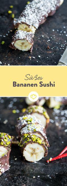 Oooh, wie süß! Bananen-Schoko-Sushi mit Erdnussbutter