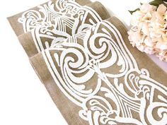 Wedding Table Runner/  Ivory Sequins Vintage Wedding Linens / Farmhouse Decor