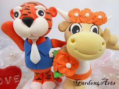 Custom Auburn Tiger & Texas Longhorn Wedding Cake Topper - Unique College Mascot Love Couple with Beautiful Stand via Etsy