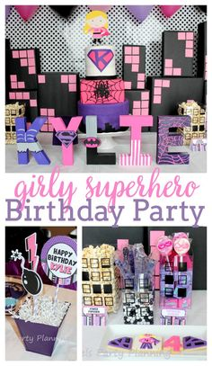 If you have a little girl with big dreams of being a Superhero when she grows up, then this Girly Superhero Party in pink, purple and black is for you.   The Love Nerds