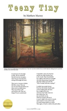 """""""Teeny Tiny"""" by Matthew Murrey, after a painting by Åsa Antalffy Eriksson. Winner of the May 2015 Ekphrastic Challenge, Artist's Choice.   Web:  http://www.rattle.com/poetry/teeny-tiny-by-matthew-murrey/  PDF Broadside: http://www.rattle.com/ekphrasis/EA2015.pdf"""