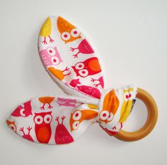 Natural Wooden Teething Ring 'BUNNY' in PINK OWL by CwtchBugs, £8.00