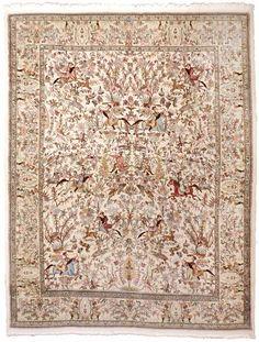 "NLR 572- Vintage Persian Hunting scene rug. 6'5""x 9'3""  #TraditionalPersianOriental"