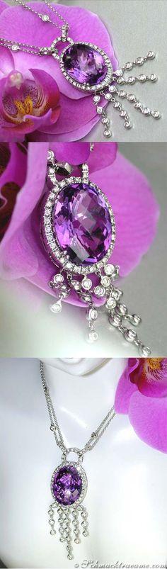 Beautiful: Amethyst Diamond Necklace, Antique Style, 13,51 cts. WG-14K - Visit: schmucktraeume.com - Like: https://www.facebook.com/pages/Noble-Juwelen/150871984924926