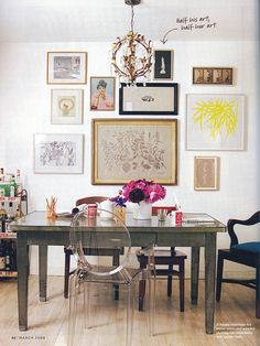 office/dining table + bar + salon wall = perf space