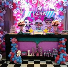 Lol Surprise Backdrop and Table Settings. 10th Birthday Parties, Birthday Party Themes, Surprise Birthday, Surprise Cake, Kinder Spa Party, Surprise Party Decorations, Pop Star Party, Doll Party, Lol Dolls