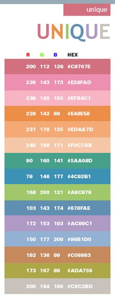 list of colors and name of their shades color charts