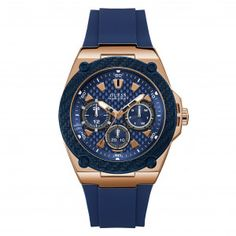 Shop for Guess Men's 'Casual' Chronograph Blue Silicone Watch. Get free delivery On EVERYTHING* Overstock - Your Online Watches Store! Get in rewards with Club O! Sport Watches, Watches For Men, Guess Watches, Gold Watches, Couleur Or Rose, Bracelet Silicone, Rubber Watches, Online Watch Store, Bracelet Cuir