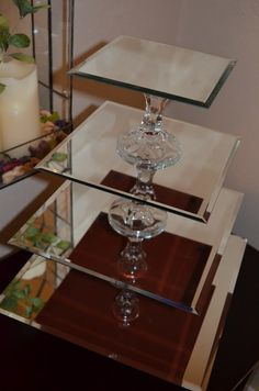 Cupcake Stands out of mirrors and candlesticks!
