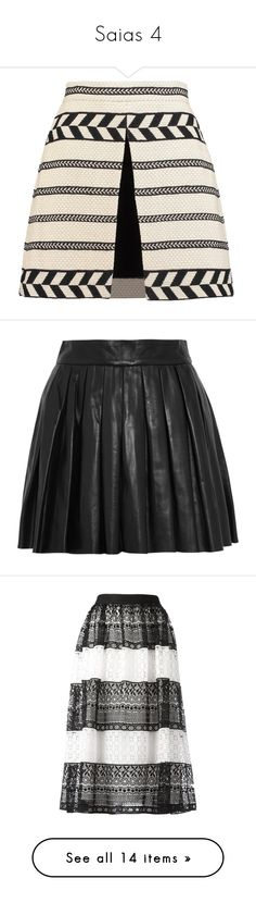 """""""Saias 4"""" by marymariamary ❤ liked on Polyvore featuring skirts, mini skirts, cream, front slit skirt, short mini skirts, cotton mini skirt, layered skirt, double layer skirt, black and short pleated skirt"""