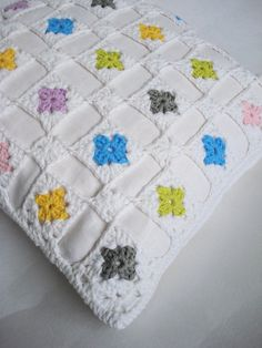 White linen crochet cushion cover with multicoloured by PukaluHome, $70.00