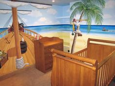pirate murals | Pirate themed mural painted for a toddler's bedroom
