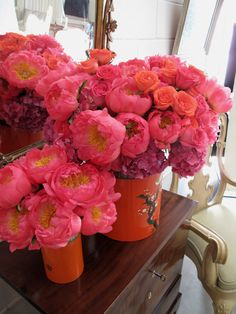 Peonies in vintage tea canisters- Eric Cortina design