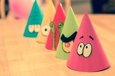 DIY party hats for SpongeBob and his Bikini Bottom friends.