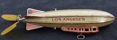 "Strauss Mechanical Tin Wind-Up Airship ""Los Angeles"", c.1926.  length 10"""