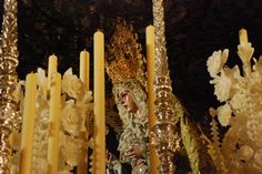 Detail of La Macarena on her float for Semana Santa.